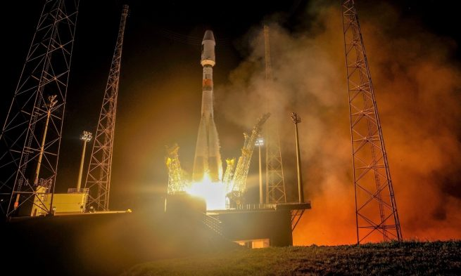 Liftoff of Soyuz ST-B flight VS12 carrying Galileo satellites 9–10