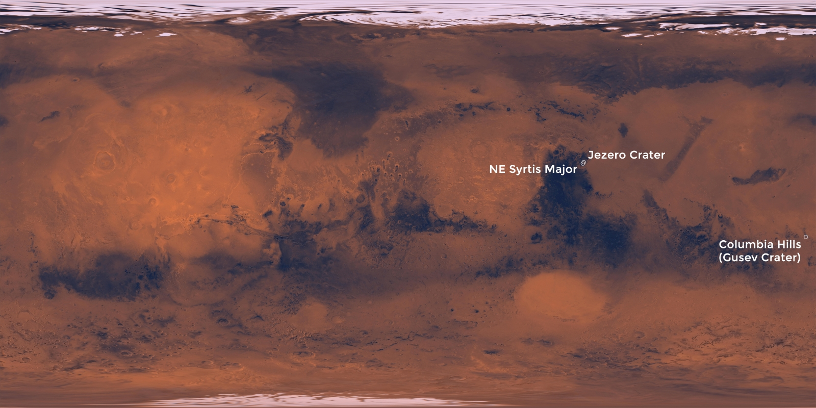 Three Landing Sites for Mars 2020