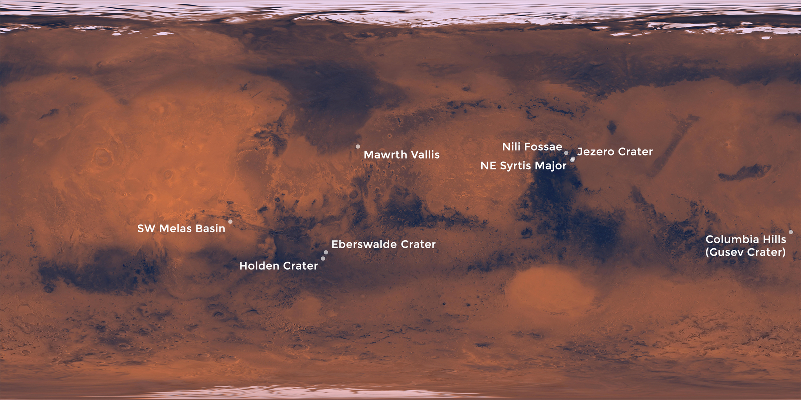 Landing Sites Under Consideration for the Mars 2020 Rover
