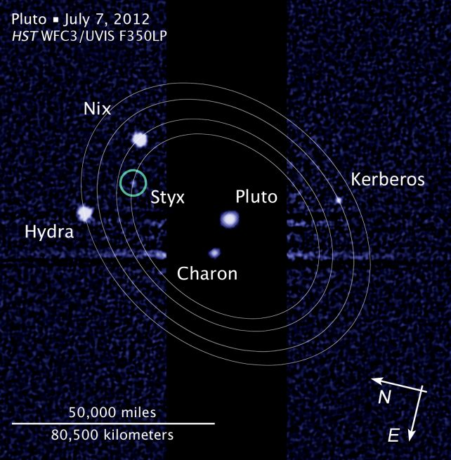Hubble Space Telescope image of five moons orbiting the dwarf planet Pluto.