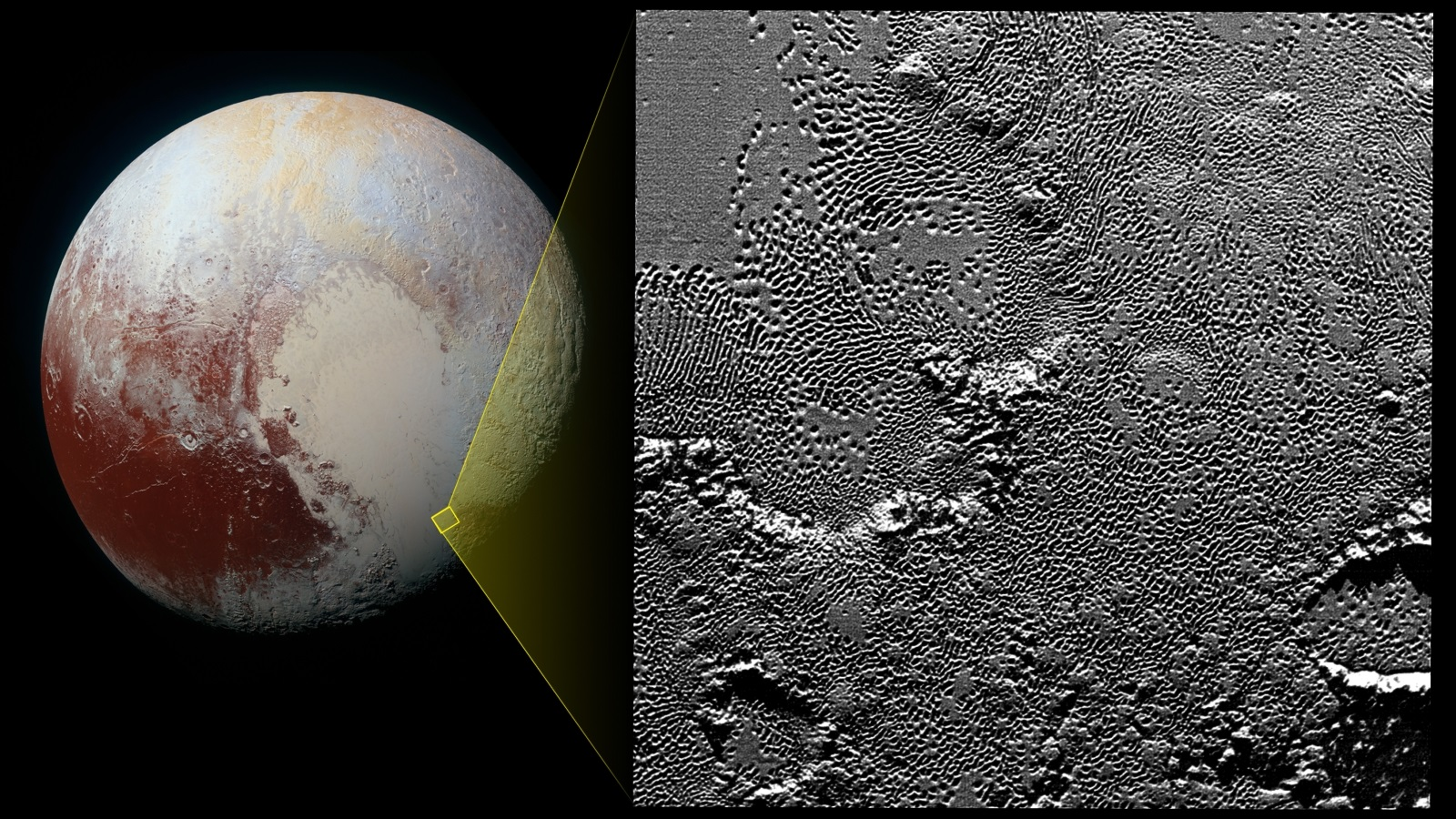 Pluto's Pattern of Pits observed by New Horizons