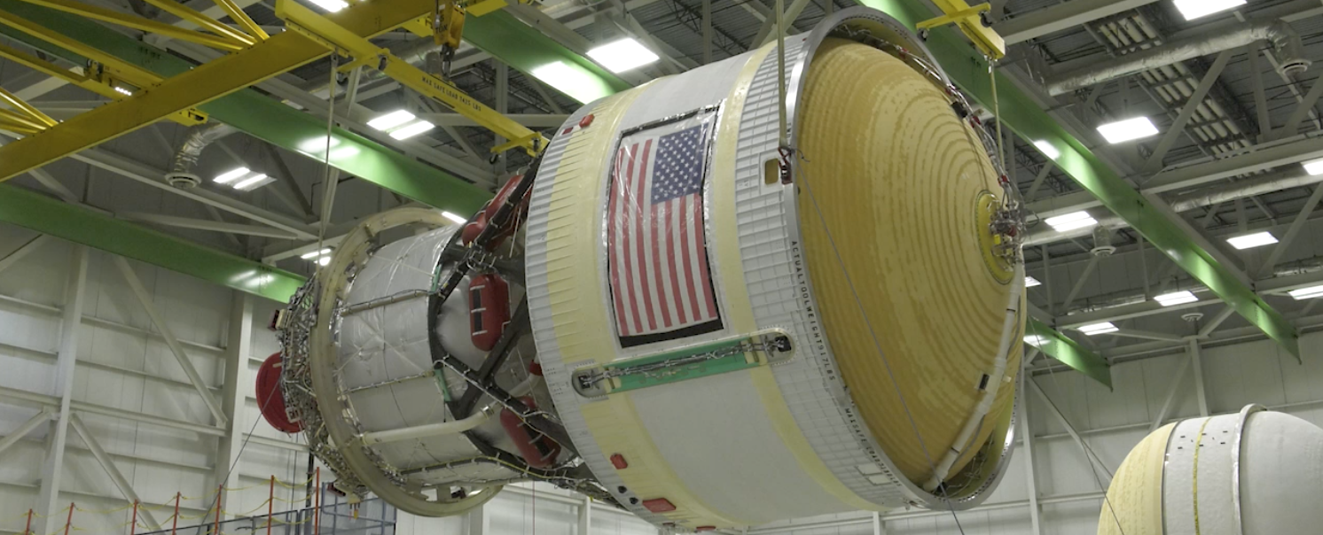 The ICPS is transported to a pressure test area at ULA's manufacturing facility.