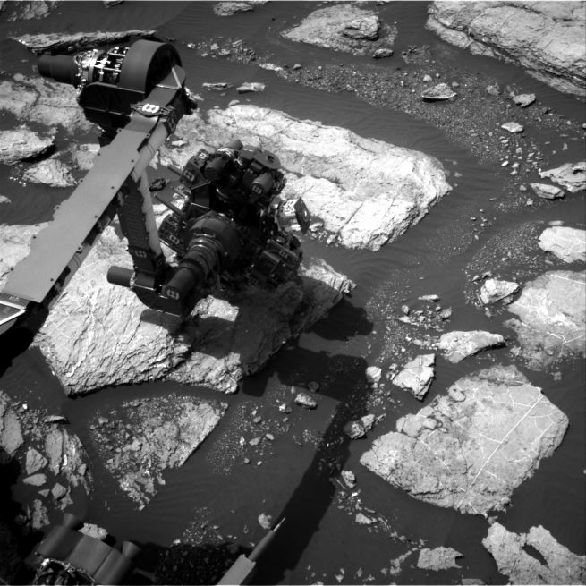 This image was taken by Navcam onboard NASA's Mars rover Curiosity on Sol 1598 (February 3, 2017). Image Credit: NASA/JPL-Caltec