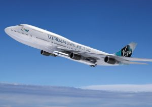 Visualization of Virgin Galactic 747-400 'Cosmic Girl' with LauncherOne under its wing
