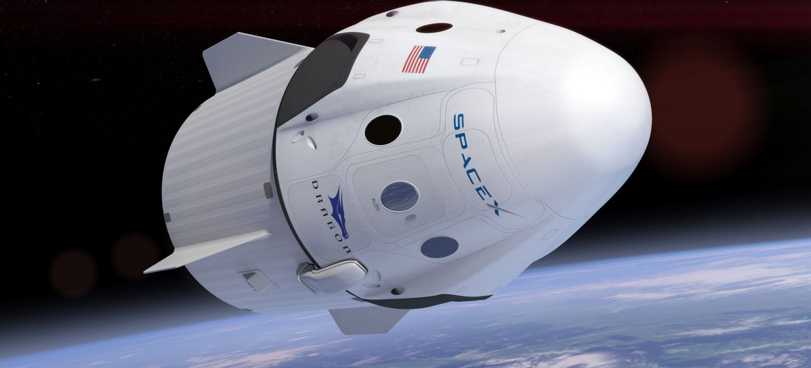 An artist's rendering of a Crew Dragon in orbit. Image Credit: SpaceX