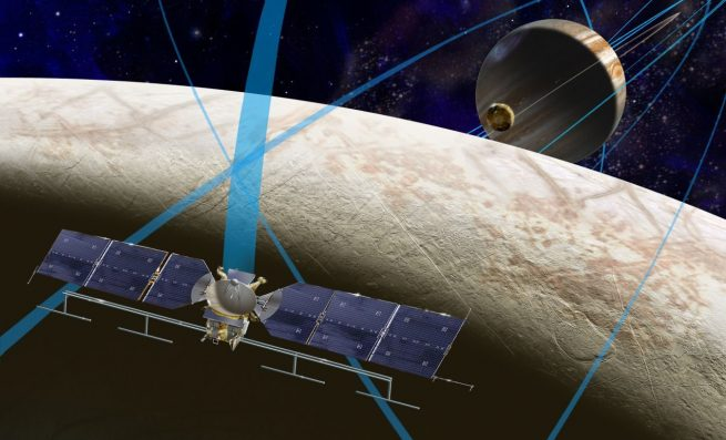 An illustration of NASA's Europa Clipper mission that is flying past Europe. Source: NASA / JPL-Caltech