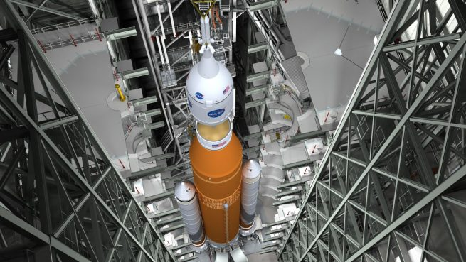 Artist's rendering of SLS assembly