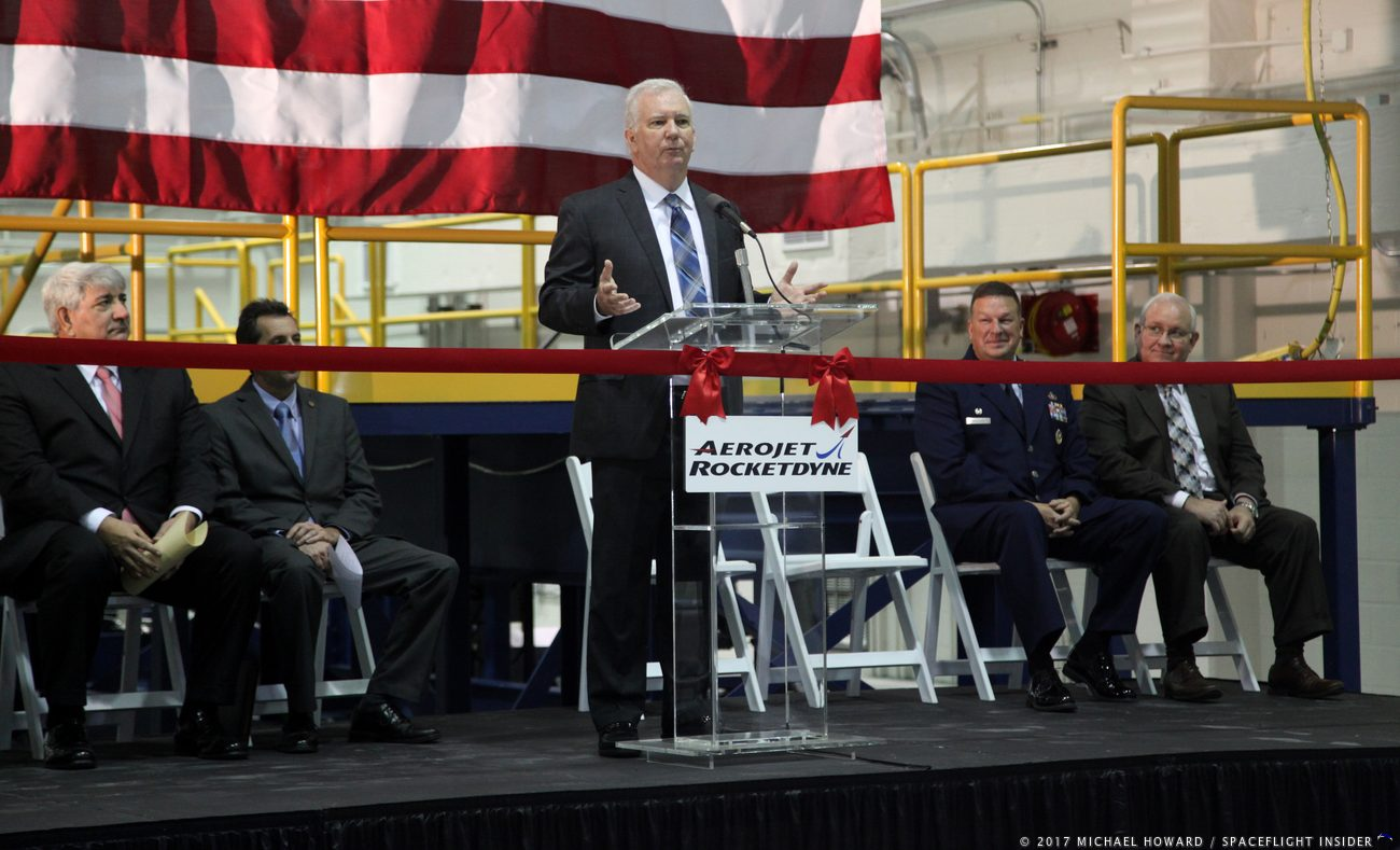 Dan Kelly speaks at the ribbon cutting for the new AR Coleman Aerospace facility