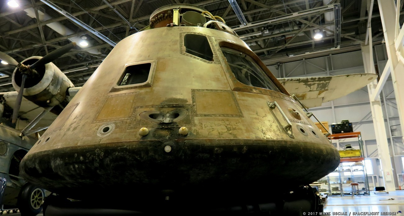 The Apollo 11 Command Module, Columbia at the Smithsonian's Steven F. Udvar-Hazy Center in Chantilly, Virginia. Photo Credit: Mark Usciak / SpaceFlight Insider