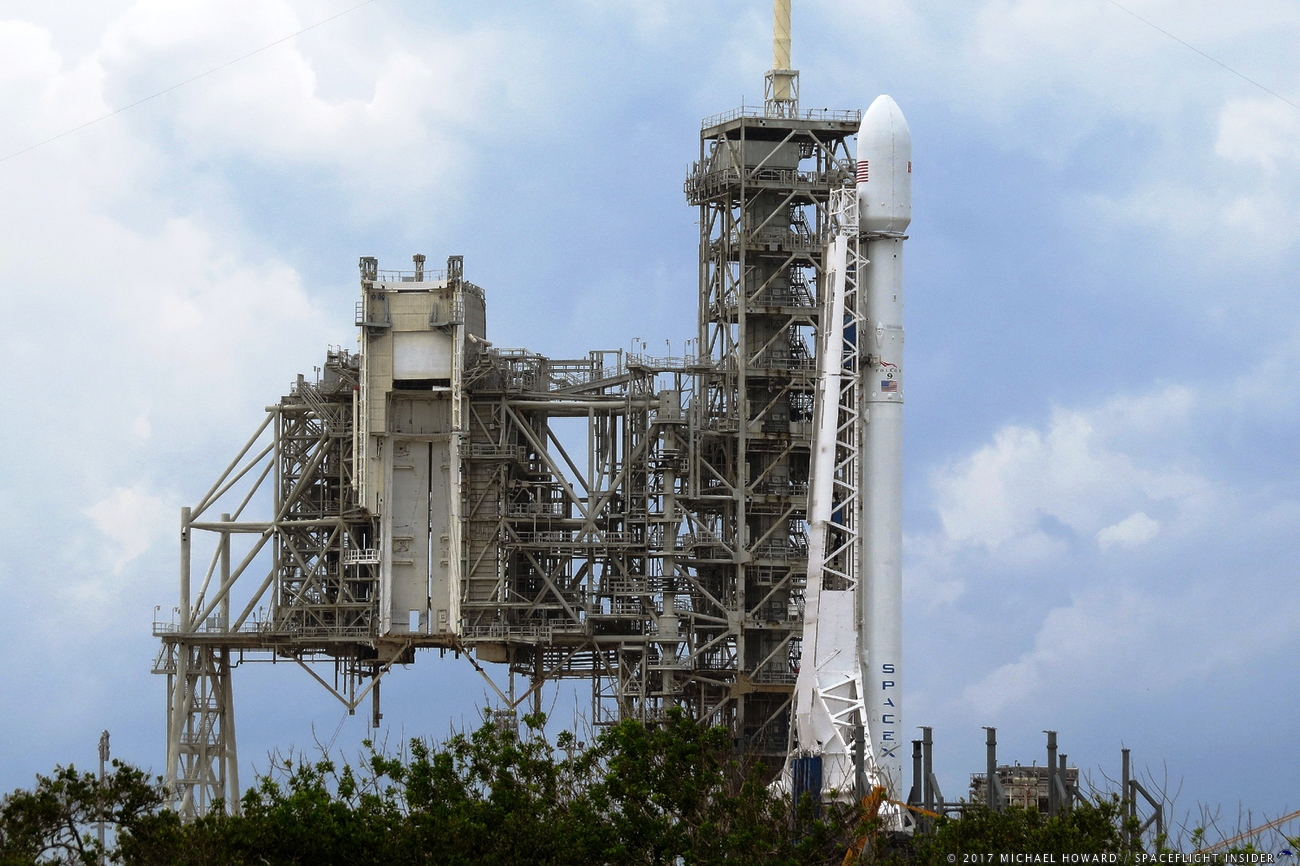 SpaceX Full Thrust Falcon 9 at Kennedy Space Center's Launch Complex 39A with the Echostar XXIII satellite. Photo Credit: Mike Howard SpaceFlight Insider