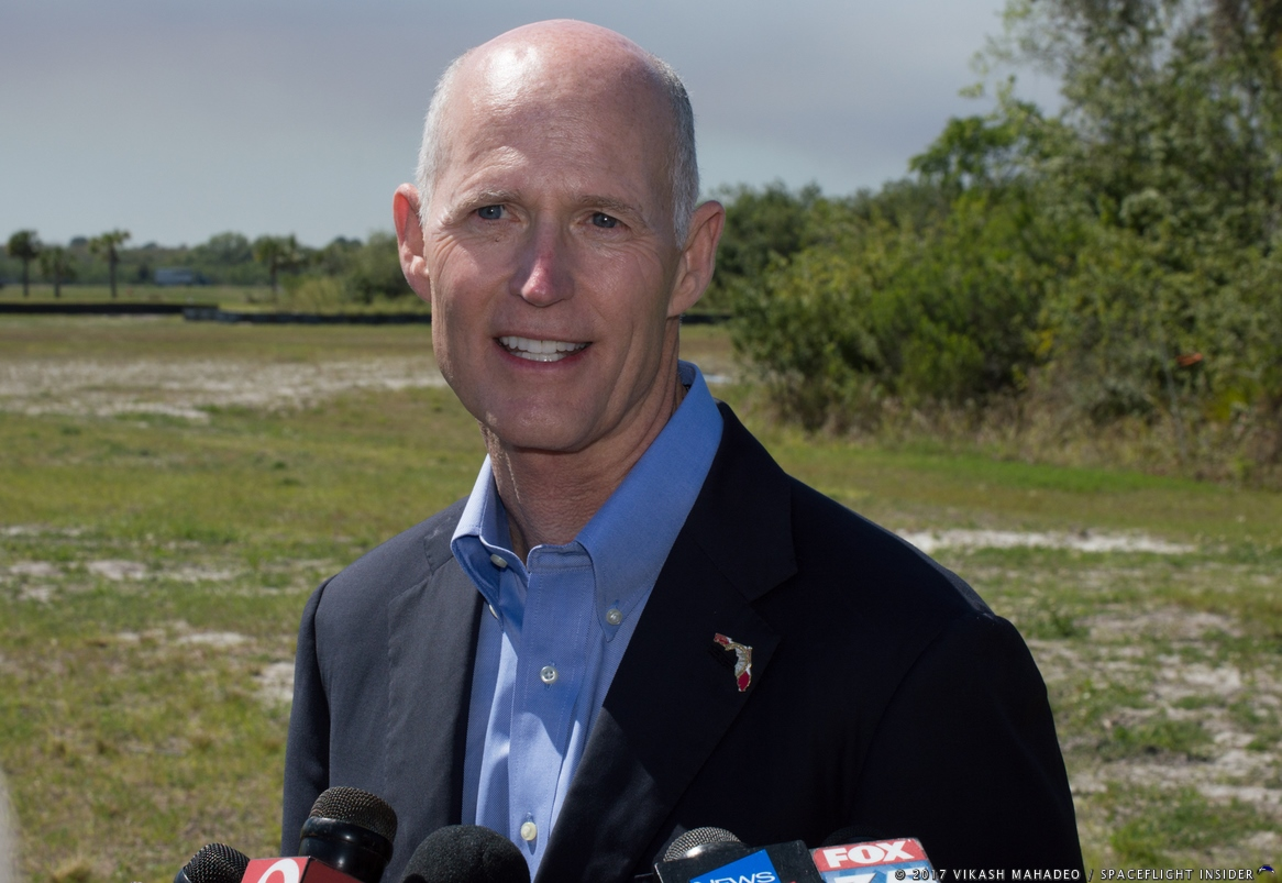 Florida Governor Rick Scott commenting on the importance of this new facility during the Thursday, March 16 groundbreaking ceremony. Photo Credit: Vikash Mahadeo / SpaceFlight Insider