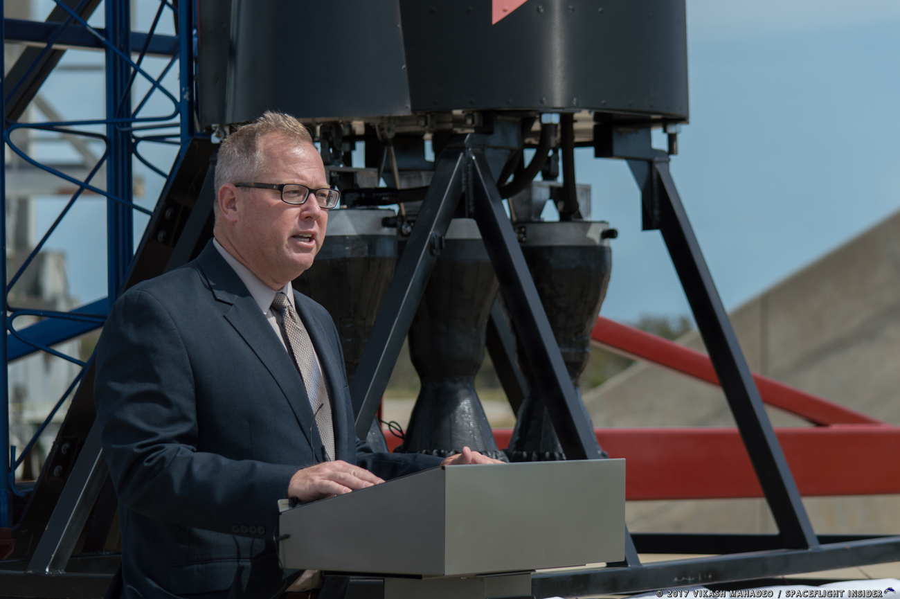 The Chief Operating Officer for the Kennedy Space Center Visitor Complex, Therrin Protze, details how the Vector-R rocket will be a part of the NASA Now display at the Complex. Photo Credit: Vikash Mahadeo / SpaceFlight Insider