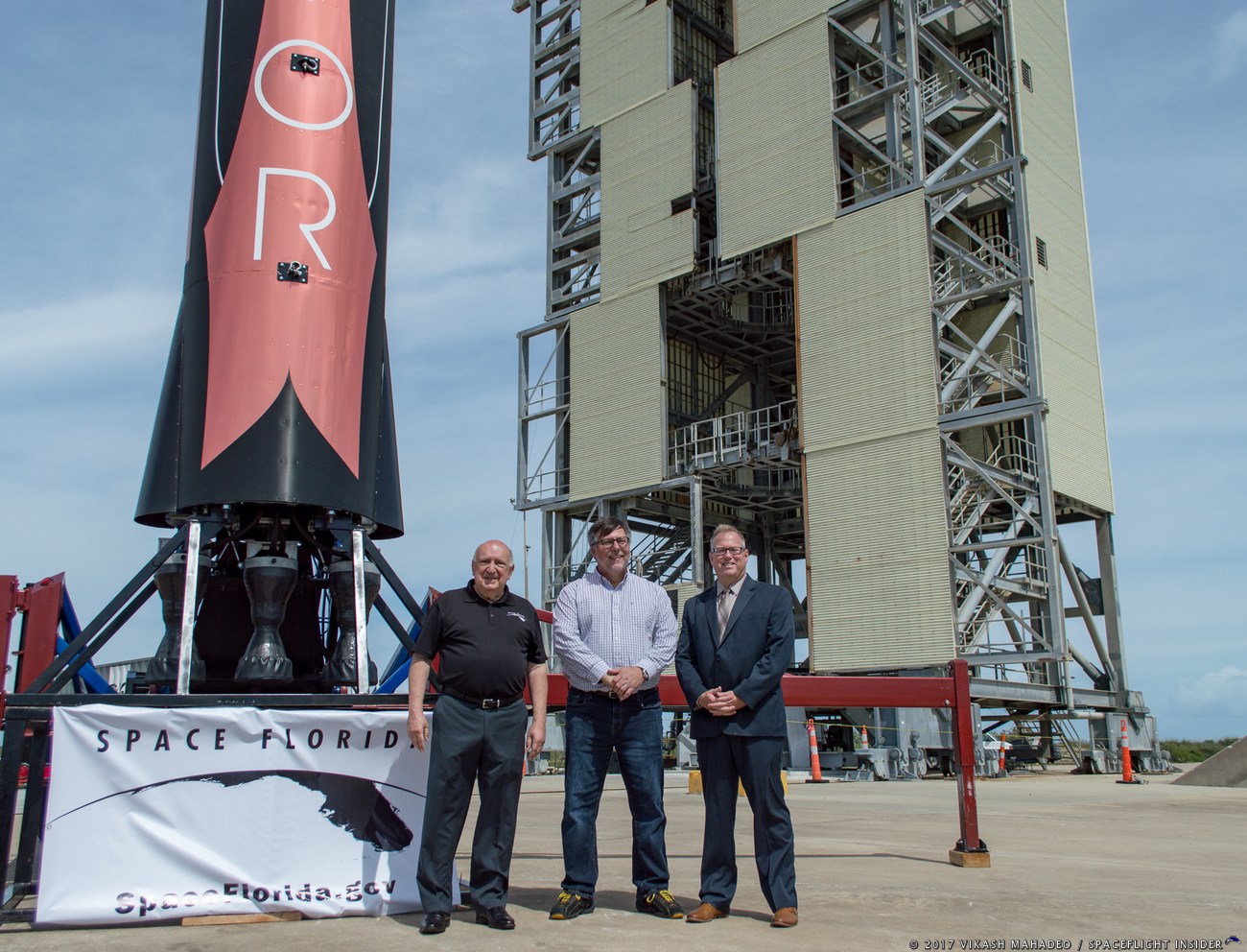 From left-to-right, Space Florida's Frank DiBello, Vector Space System's Jim Cantrell and Therrin Protze, the COO of the Kennedy Space Center Visitor Complex. Photo Credit: Vikash Mahadeo / SpaceFlight Insider