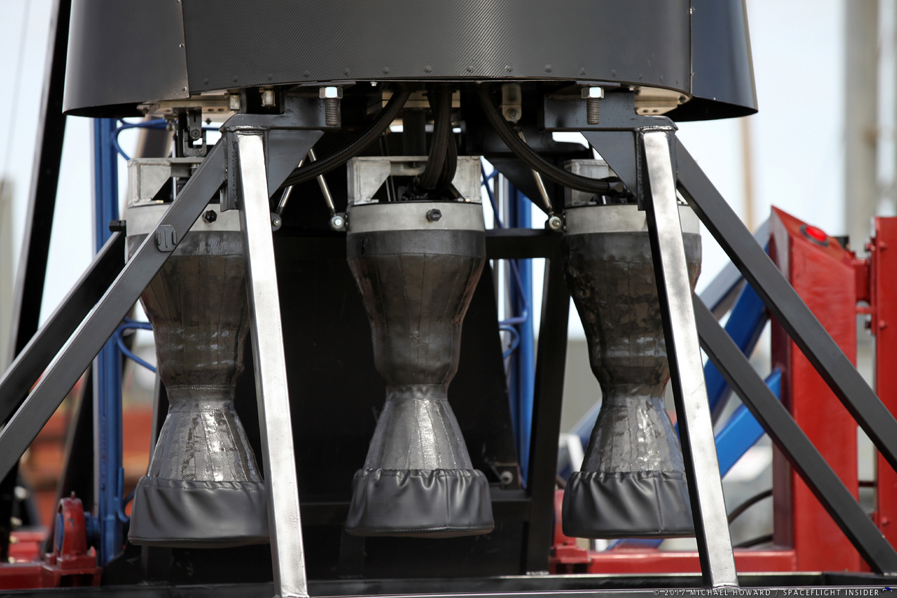 Each of the Vector-R's three rocket engines is comprised of some 15 parts and includes 3D printed parts. Photo Credit: Mike Howard / SpaceFlight Insider