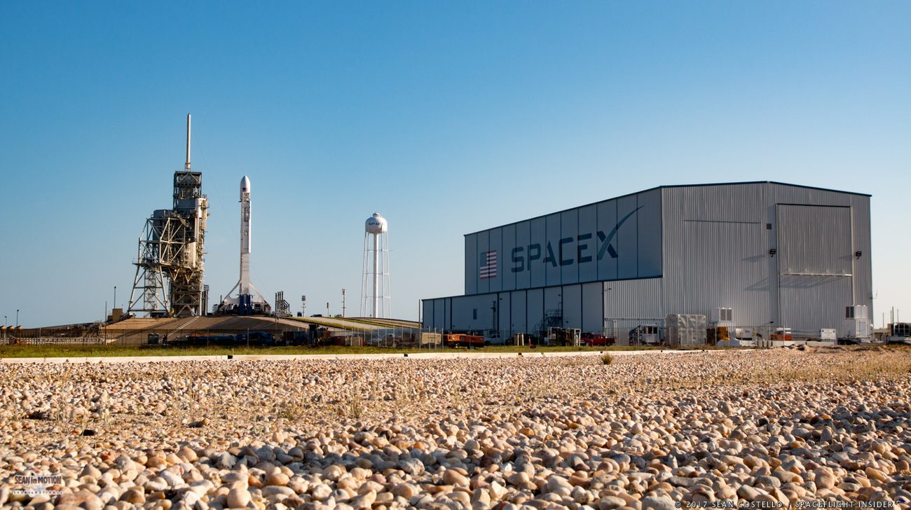 A SpaceX FT Falcon 9 sits at Kennedy Space Center's Launch Complex 39A with the SES-10 communications satellite. Photo Credit: Sean Costello / SpaceFlight Insider