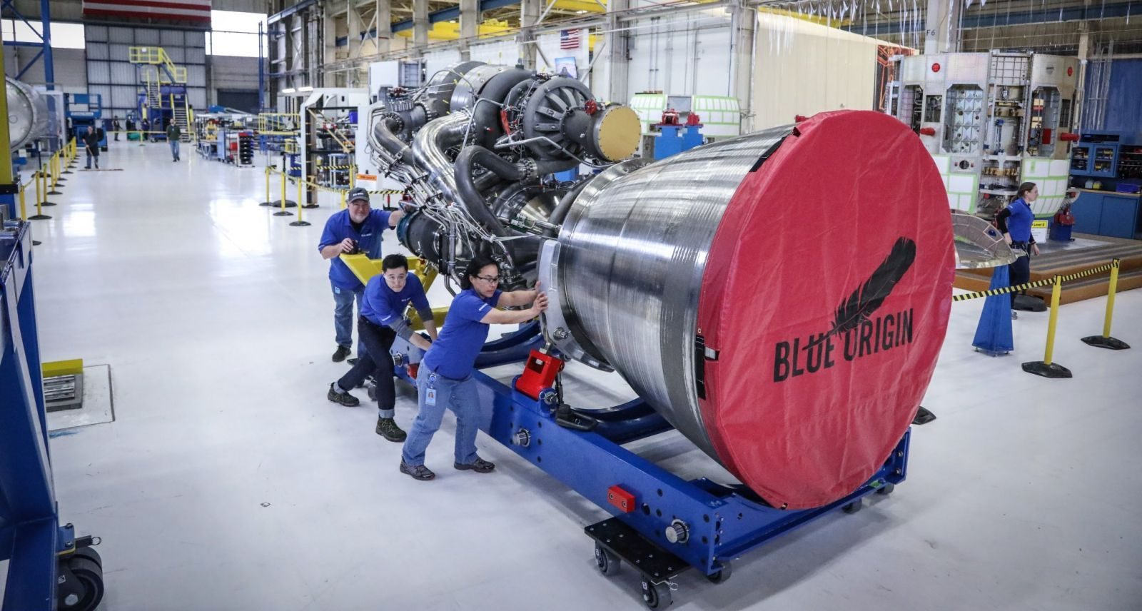 A BE-4 engine on its transport cradle. Photo Credit: Jeff Bezos / Blue Origin