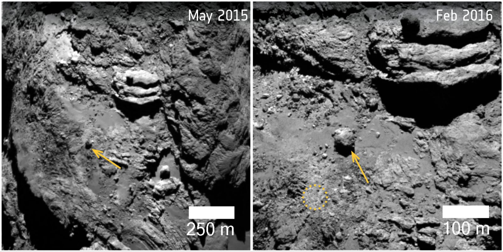 Comet 67P changes: moving boulder in Khonsu
