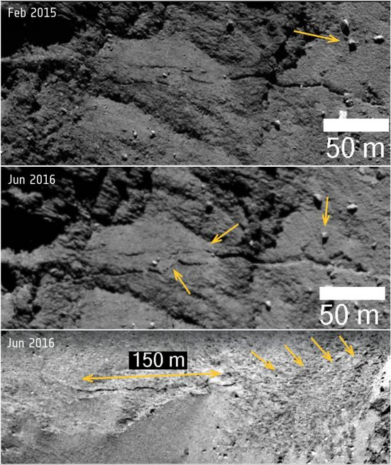 Comet 67P: new fracture and boulder movement in Anuket