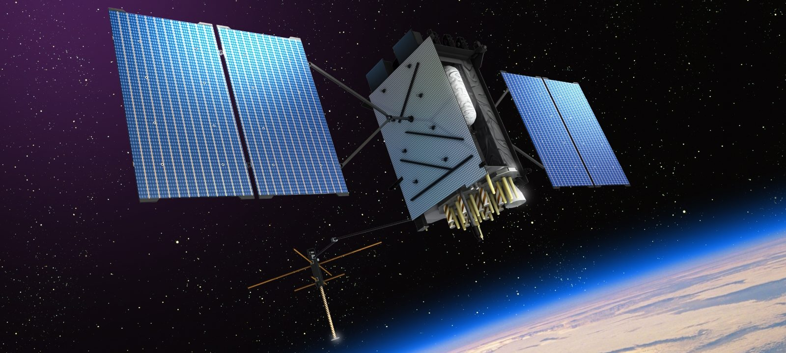 An artist's rendition of GPS III in orbit