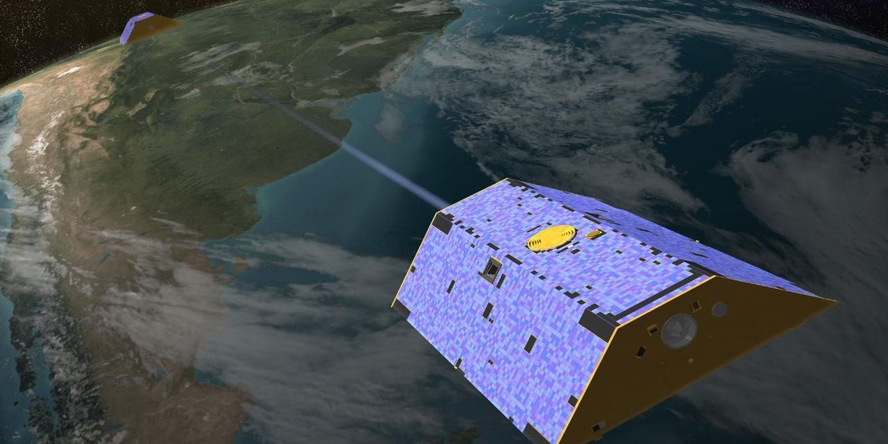 Artist's concept of the twin GRACE satellites. Image Credit: NASA