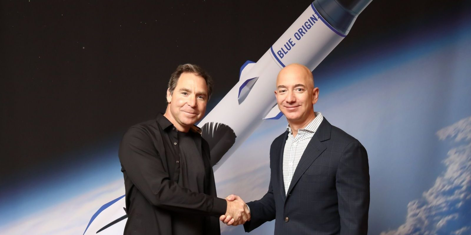 Greg Wyler of OneWeb and Jeff Bezos of Blue Origin.