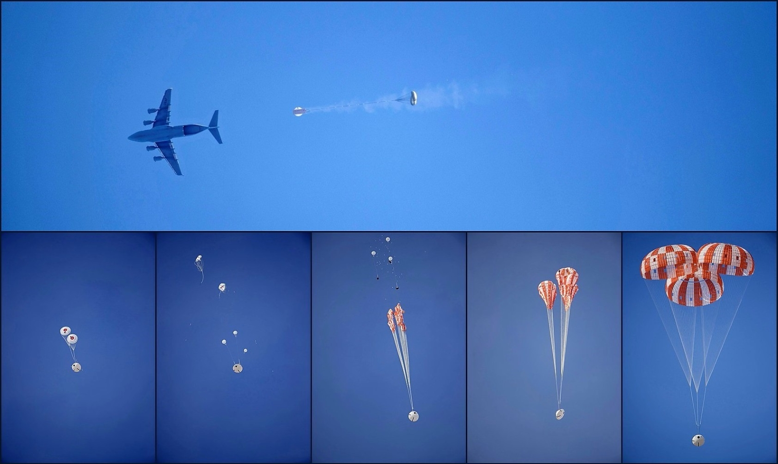 Orion parachute test sequence on March 8, 2017, at the U.S. Army Yuma Proving ground in Arizona
