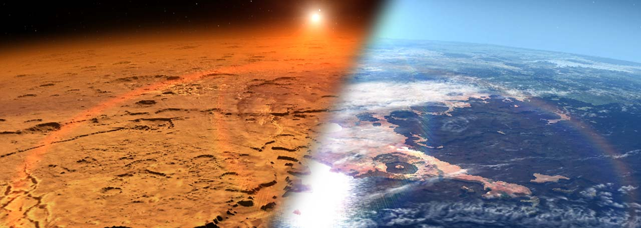 This artist's concept depicts the early Martian environment (right) – believed to contain liquid water and a thicker atmosphere – versus the cold, dry environment seen at Mars today (left). NASA's Mars Atmosphere and Volatile Evolution is in orbit of the Red Planet to study its upper atmosphere, ionosphere and interactions with the sun and solar wind.  Image Credit: NASA's Goddard Space Flight Center