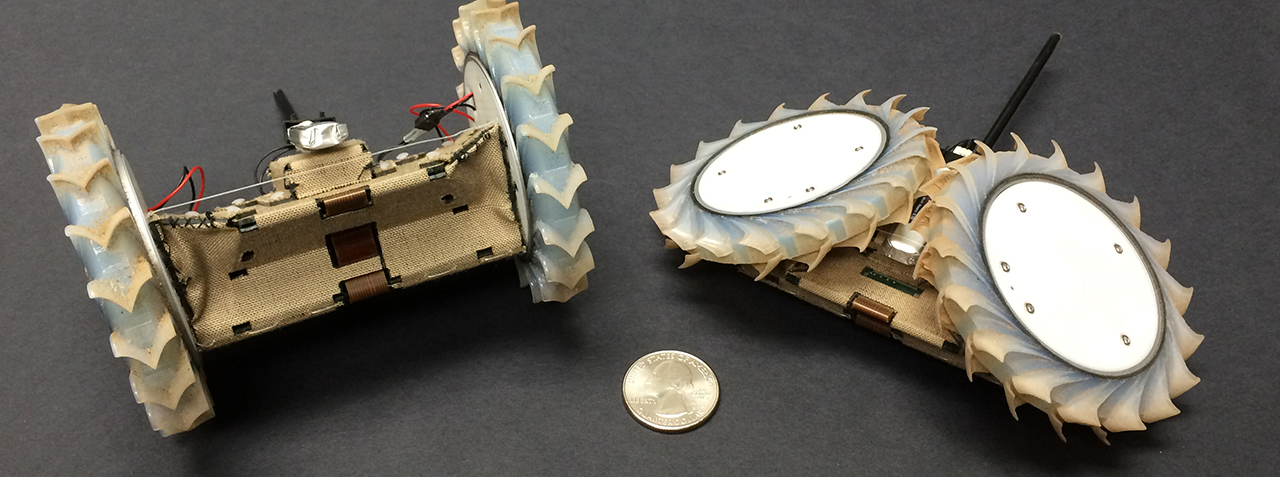 Pop-Up Flat Folding Explorer Robot (PUFFER) was inspired by an origami design. This little robot could be used as a scout for larger rovers, going places that would be risky or hard to reach. Image Credit: NASA/JPL-Caltech.