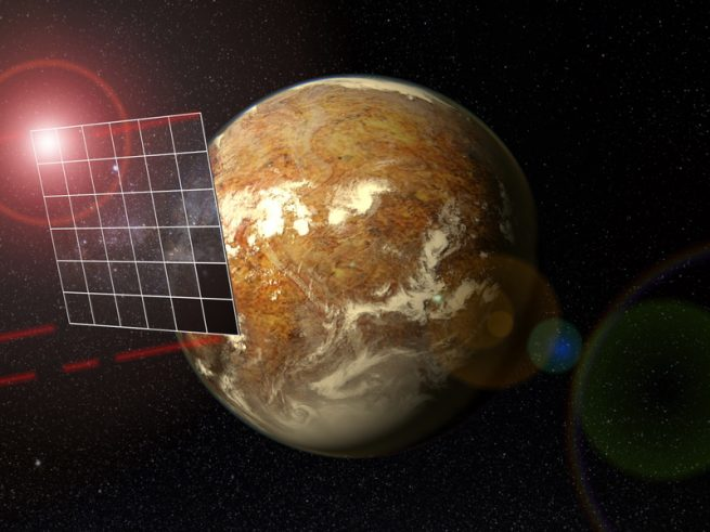 The aim of the Starshot project is to send a tiny spacecraft propelled by an enormous rectangular photon sail to the Alpha Centauri star system, where it would fly past the Earth-like planet Proxima Centauri b. The four red beams emitted from the corners of the sail depict laser pulses for communication with the Earth.