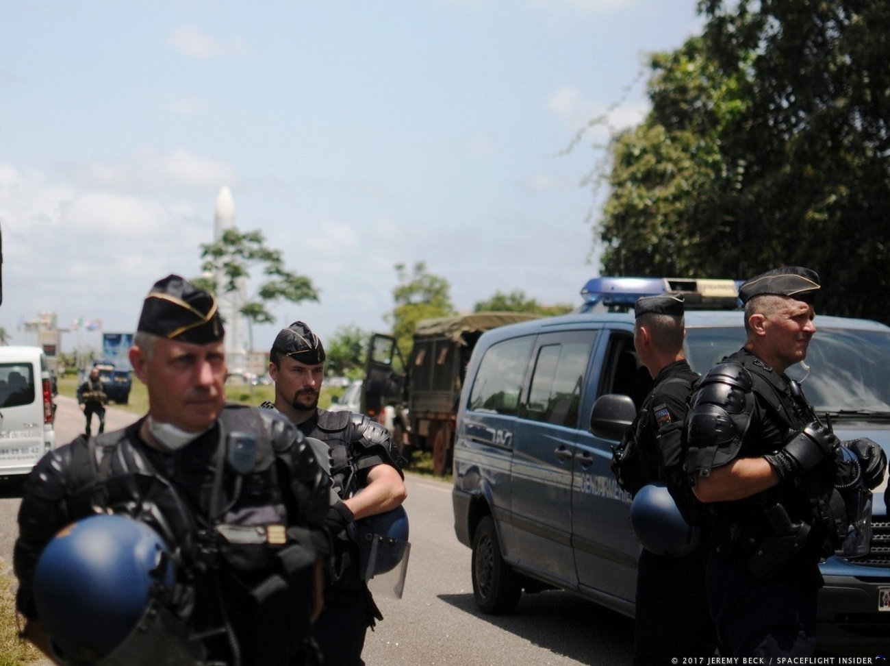 Guiana Space Centre: French police were on hand for Tuesday's protests in the event of possible violence. Photo Credit: Jeremy Beck / SpaceFlight Insider
