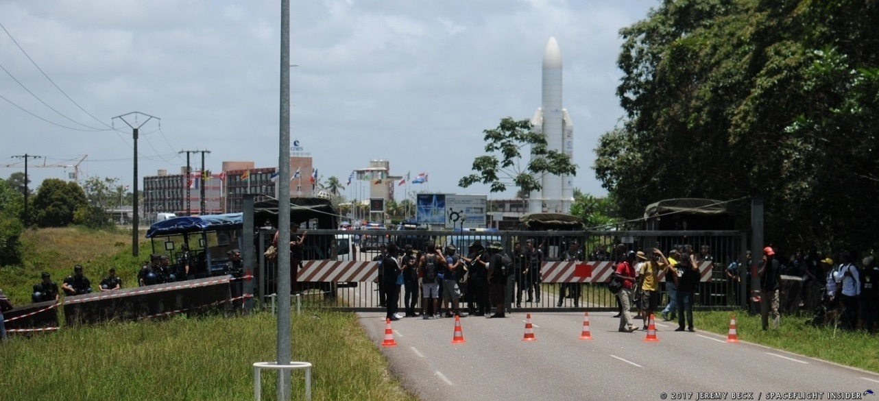 Protesters stand outside a barricade in front of the Guiana Space Centre on Tuesday, April 4. Photo Credit: Jeremy Beck / SpaceFlight Insider