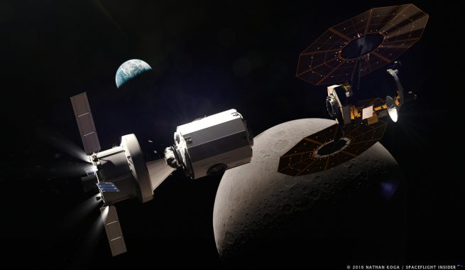 In the 2020s, NASA and its international partners are hoping to construct a small space station in an orbit around the Moon. Called the Lunar Orbital Platform-Gateway, this outpost could allow astronauts to spend long periods of time in cislunar space, conducting science and testing hardware in preparation for eventual missions to the lunar surface or to Mars. Image Credit: Nathan Koga / SpaceFlight Insider