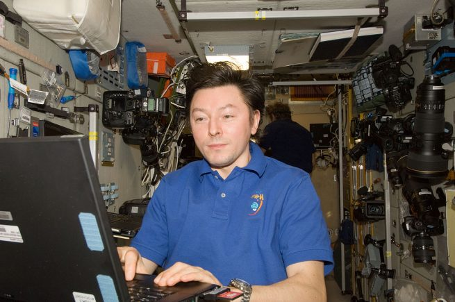 Sergey Revin in the Zvezda Service Module