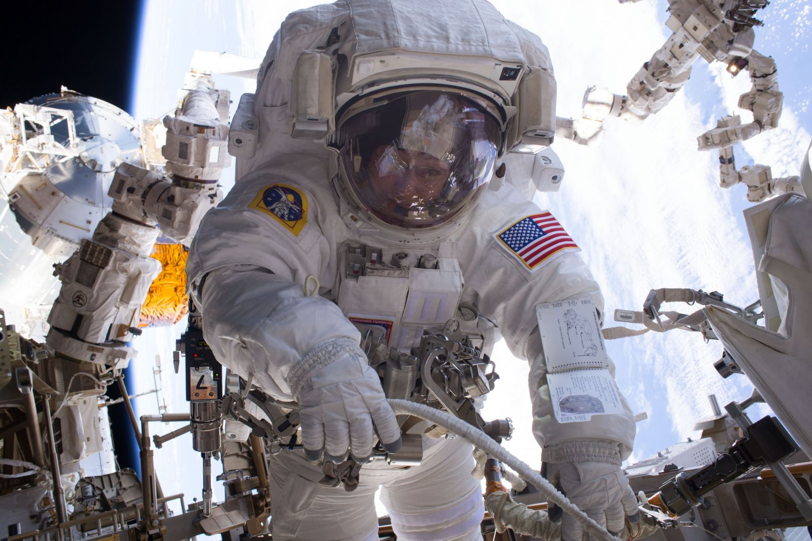 Peggy Whitson during her seventh spacewalk in January 2017