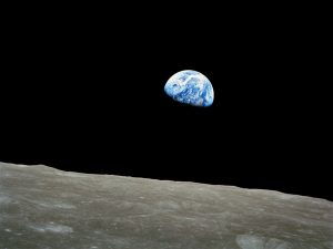 Laser communications. Apollo 8 Earthrise image.