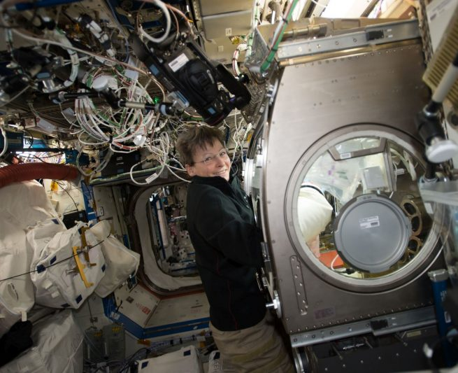 Peggy Whitson works in the Microgravity Sciences Glovebox