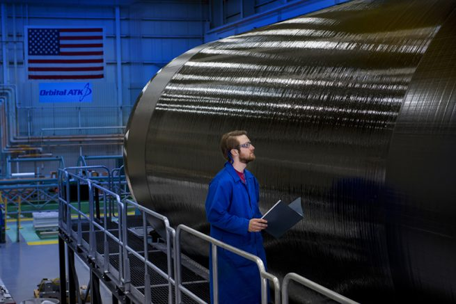 Orbital ATK has completed manufacturing the first development rocket motor case for its new family of intermediate-and large-class space launch vehicles including our space launch vehicles, missile defense interceptors, target vehicles and strategic missile systems. Caption & Photo Credit: Orbital ATK