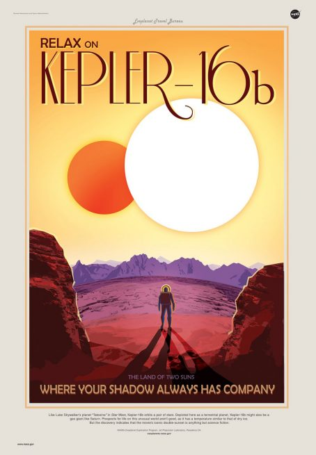 "A NASA ""travel poster"" for Kepler-16b, an exoplanet that orbits two stars. Image Credit: NASA"