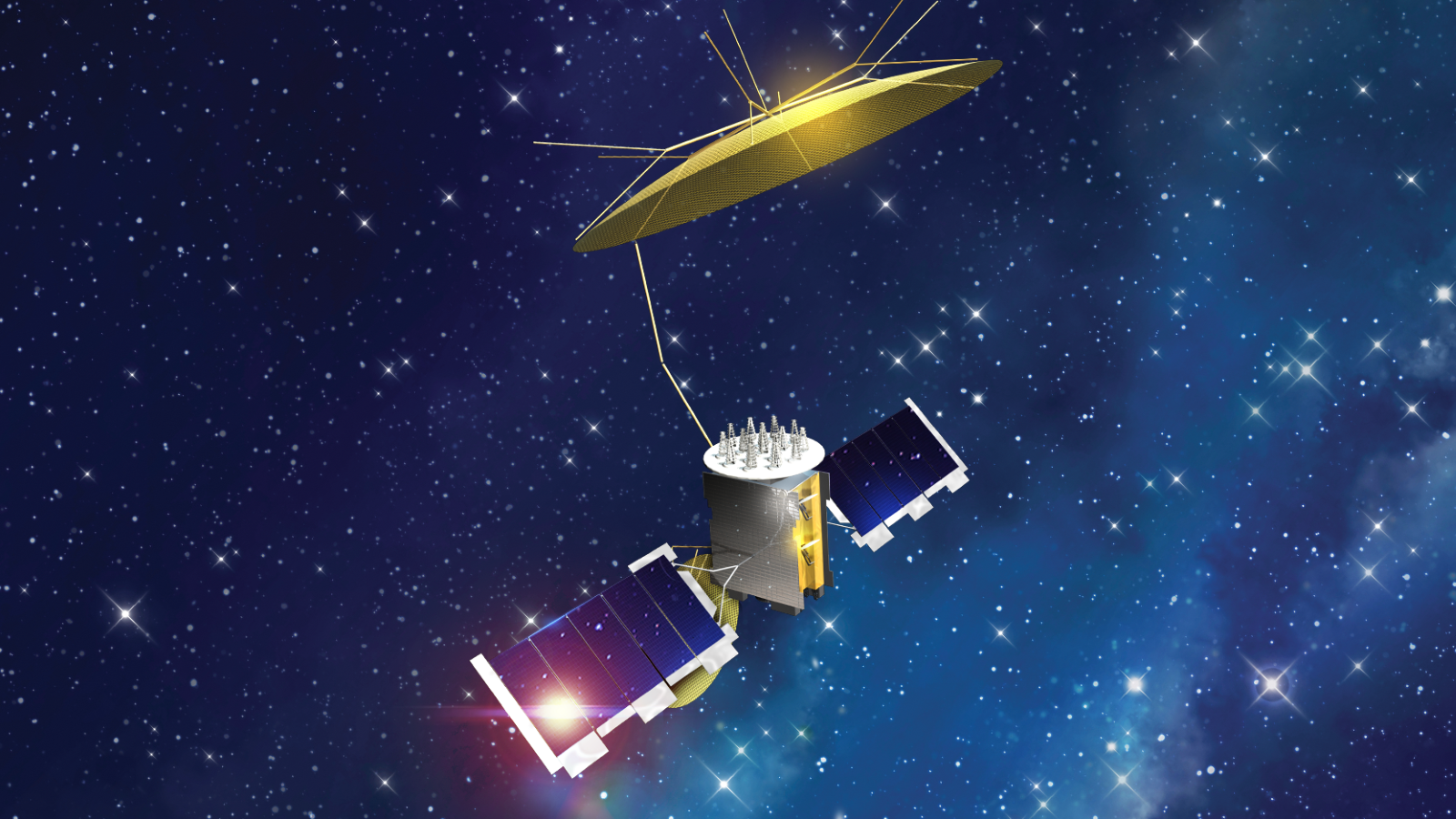 A MUOS satellite in space.The MUOS-5 satellite is now providing secure UHF telecommunications to U.S. and allied mobile forces.