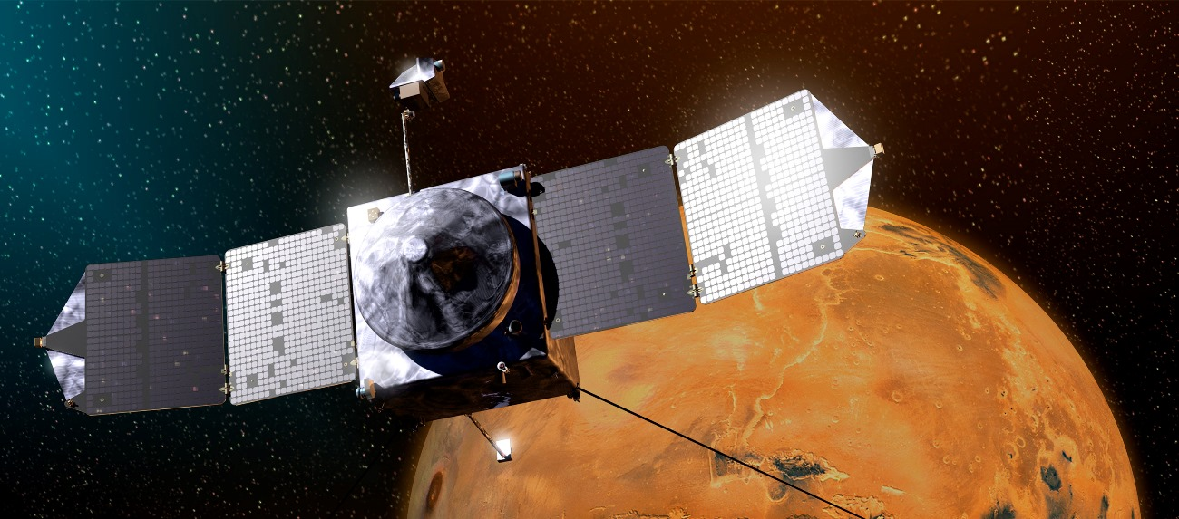 NASA's MAVEN spacecraft approaches the planet Mars in this artist's depiction. Image Credit NASA posted on SpaceFlight Insider - Copy