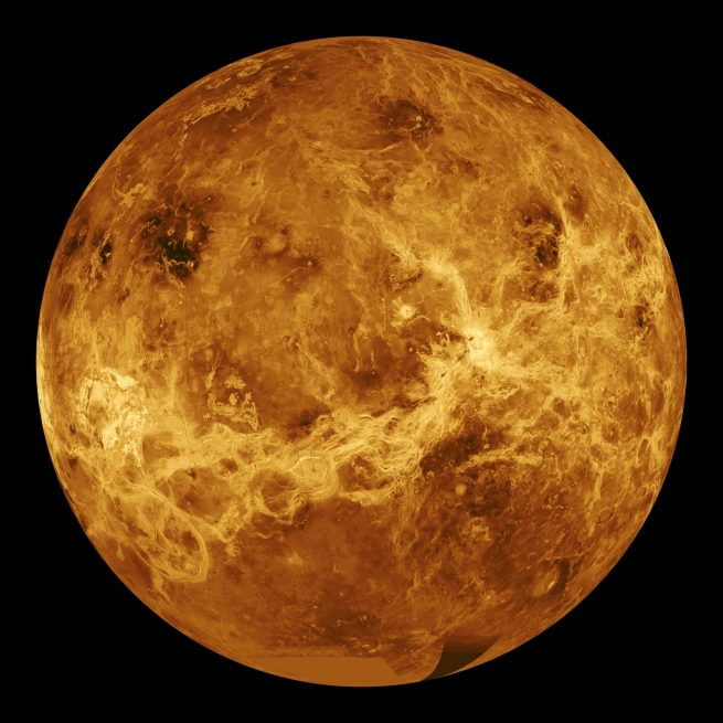 Venus – Computer Simulated Global View Centered at 180 Degrees East Longitude