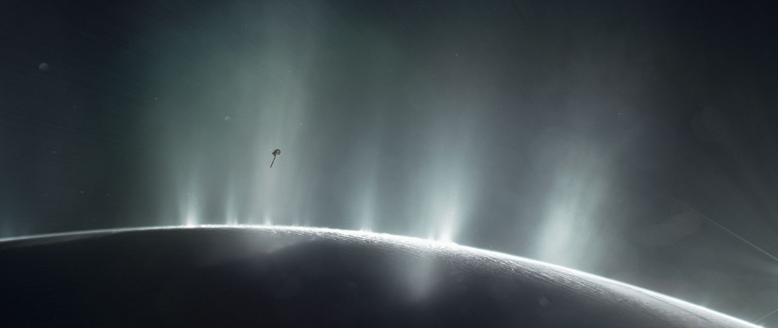 Cassini flying through Enceladus' plumes