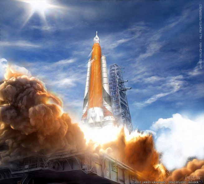 James Vaughan illustration of SLS Launch