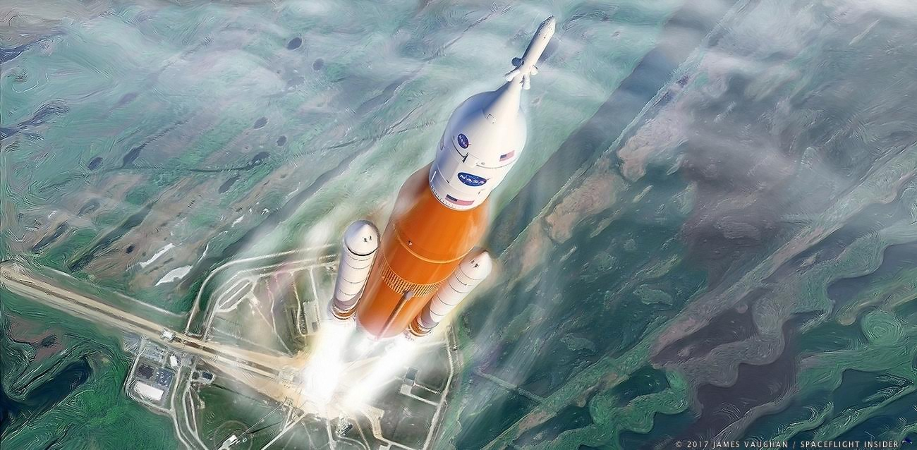An artist's illustration of NASA's SLS rocket launching from Kennedy Space Center's Launch Complex 39B. Image Credit: James Vaughan / SpaceFlight Insider