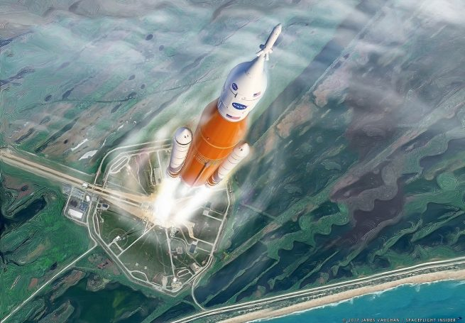 An artist's illustration of SLS launching from Kennedy Space Center's Launch Complex 39B. Image Credit: James Vaughan / SpaceFlight Insider