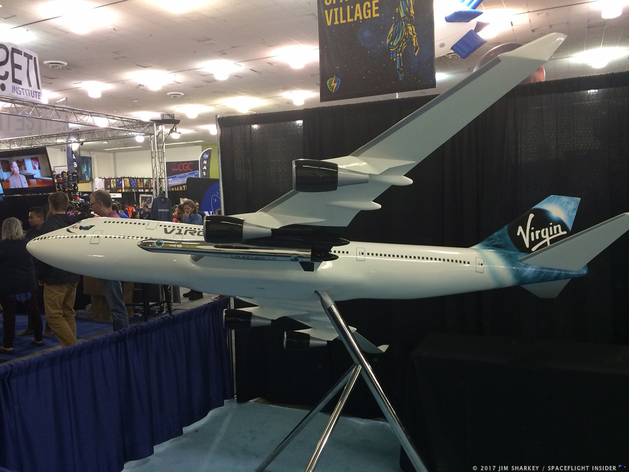 "Model of Virgin Galactic 747-400 ""Cosmic Girl"" carrying 2-stage LauncherOne rocket. Photo Credit: Jim Sharkey/SpaceFlight Insider"