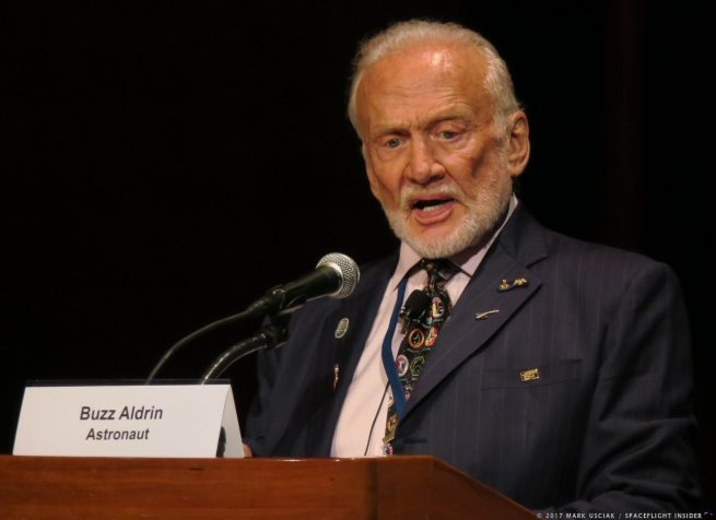 Apollo 11 astronaut Buzz Aldrin speaks at the 2017 Humans to Mars conference. Photo Credit: Mark Usciak / SpaceFlight Insider