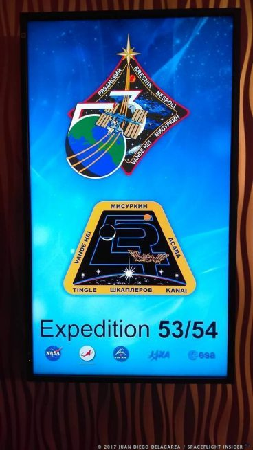 Mission logo for Expedition 53 and 54 at NASA's Johnson Space Center in Houston, Texas. Photo Credit: Juan Diego Delagarza / SpaceFlight Insider