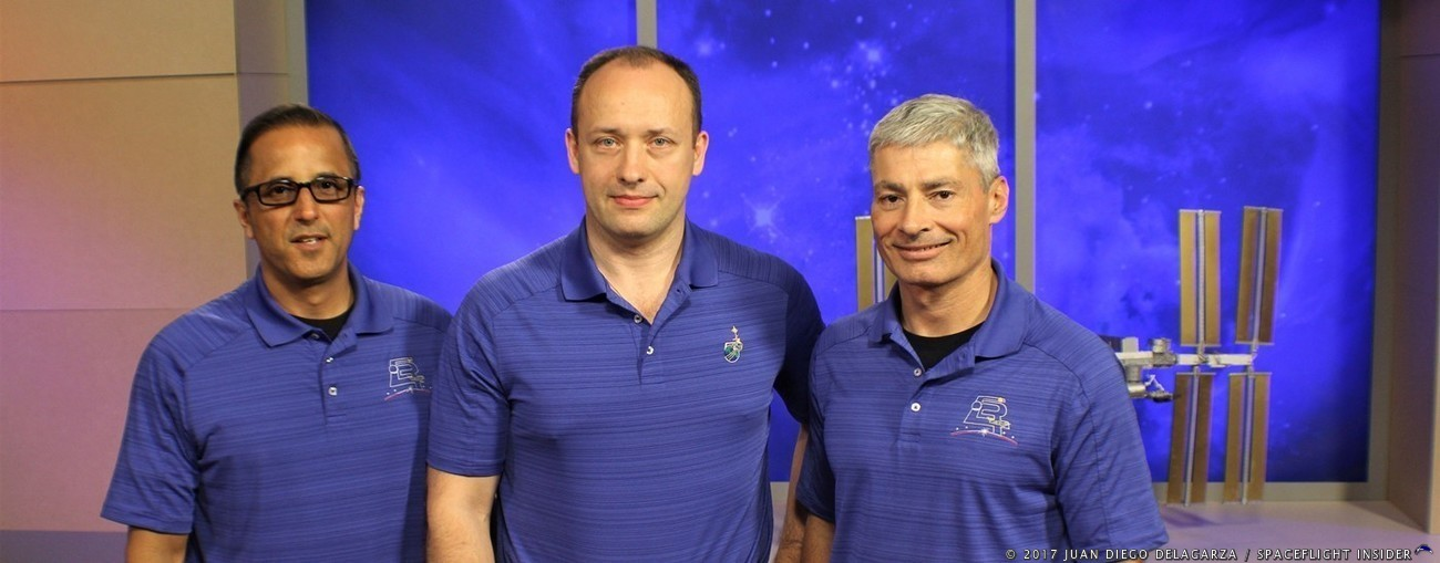 Expedition 53/54: NASA astronauts Joe Acaba, Mark Vande Hei along with their Russian crewmate Alexander Misurkin during a pre launch press conference at NASA's Johnson Space Center in Houston. Photo Credit: Juan Diego Delagarza / SpaceFlight Insider