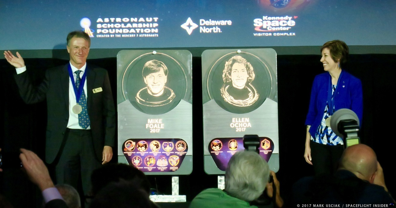 Former NASA astronauts Michael Foale and Ellen Ochoa were inducted into the U.S. Astronaut Hall of Fame on Friday, May 19, 2017. Photo Credit: Mark Usciak / SpaceFlight Insider